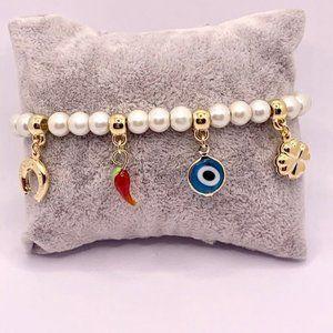 Gold filled evil eye pearl bracelet, Good Luck